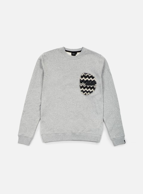 felpe southfresh zigzag zip pocket crewneck heather grey black
