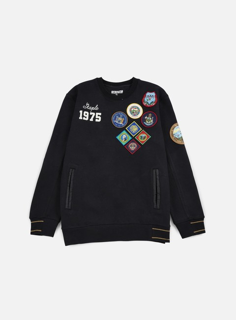 felpe staple patch quilted crewneck black