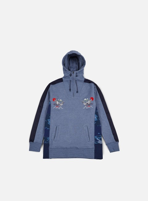 felpe staple satin tech hoodie heather blue