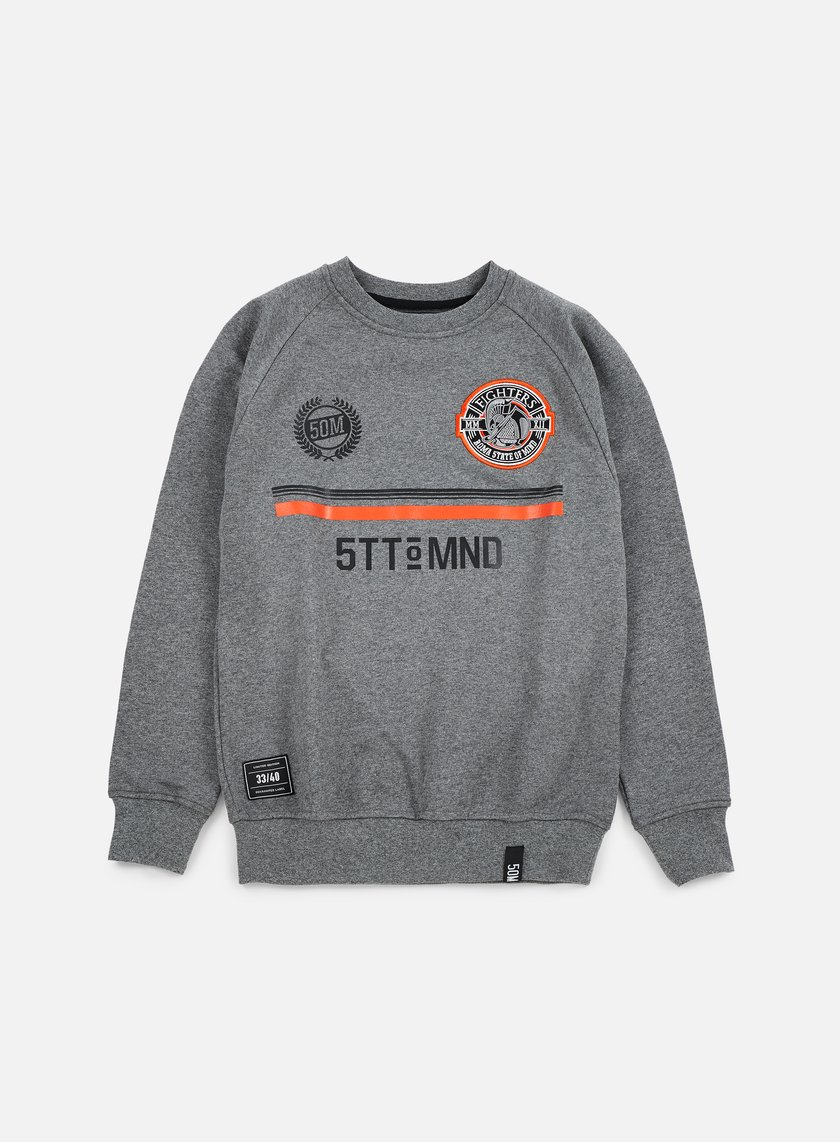 State Of Mind - Fighters Football Crewneck, Dark Heather Grey