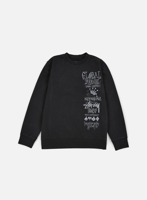 felpe stussy 1st annual applique crewneck black