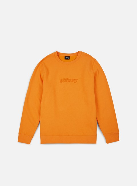 felpe stussy 3d raised applique crewneck apricot