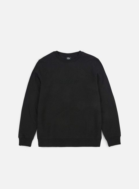felpe stussy 3d raised applique crewneck black