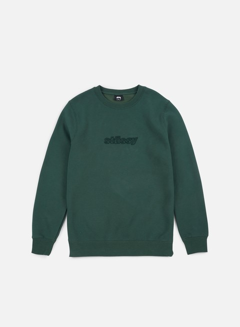 felpe stussy 3d raised applique crewneck dark forest