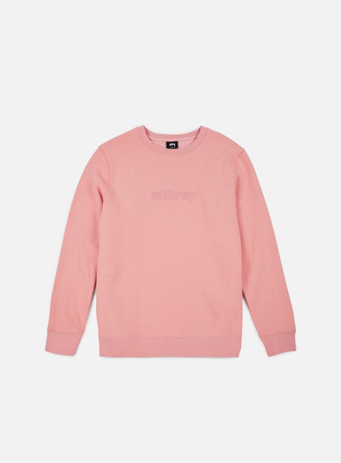 felpe stussy 3d raised applique crewneck dusty rose
