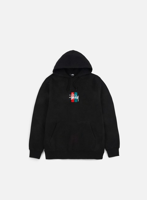 felpe stussy bars logo applique hoodie black