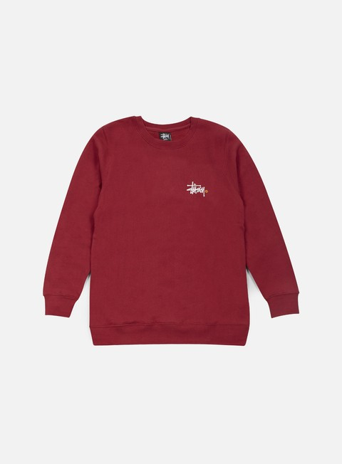 felpe stussy basic logo crewneck dark red