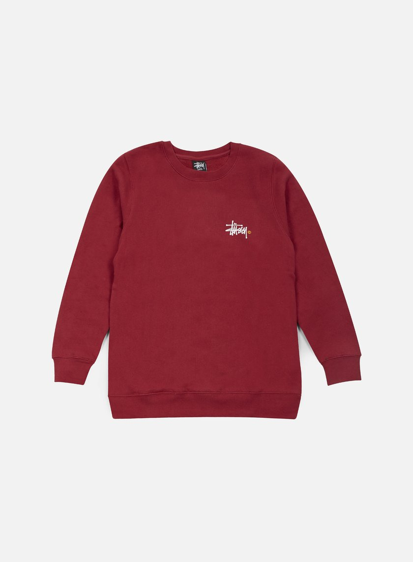 Stussy - Basic Logo Crewneck, Dark Red