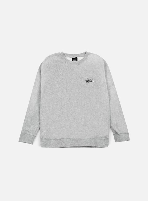 felpe stussy basic logo crewneck grey heather