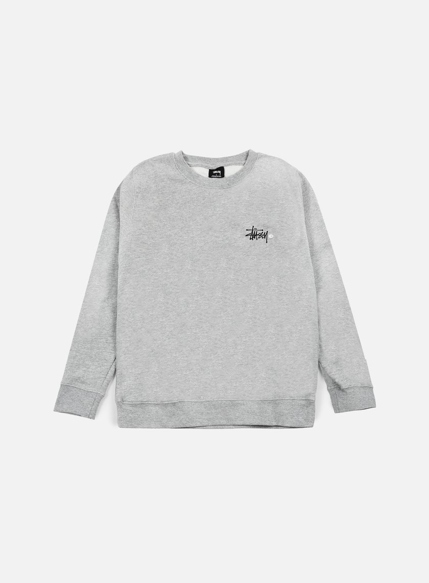 Stussy - Basic Logo Crewneck, Grey Heather