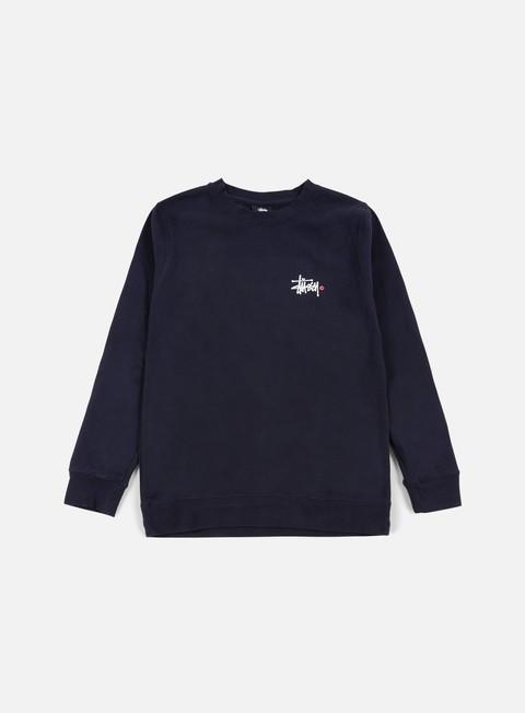 felpe stussy basic logo crewneck navy