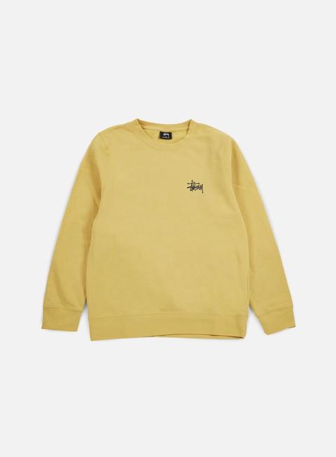 felpe stussy basic stussy crewneck faded yellow black