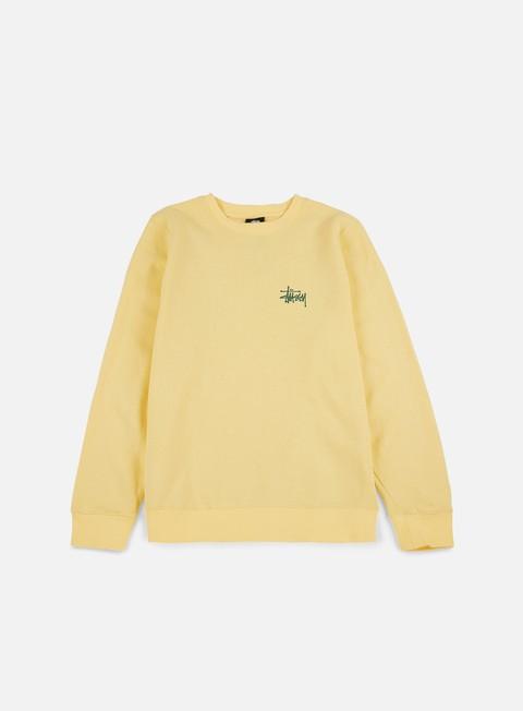 felpe stussy basic stussy crewneck pale yellow green