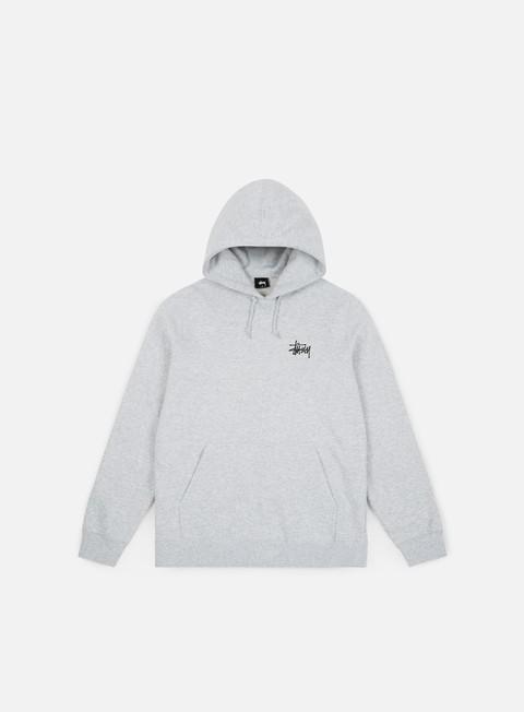 felpe stussy basic stussy hoodie grey heather black