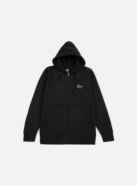felpe stussy basic stussy zip hoodie black dark grey