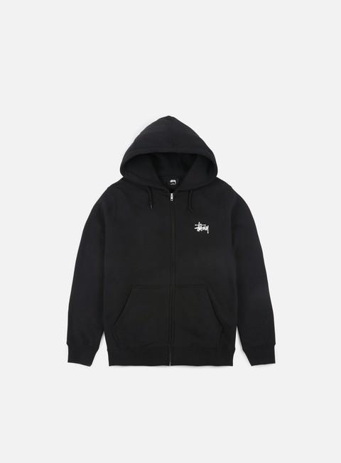 felpe stussy basic stussy zip hoodie black white