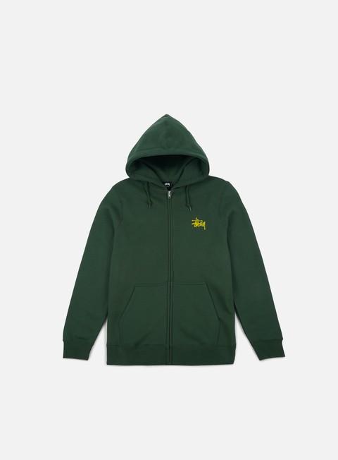 felpe stussy basic stussy zip hoodie dark forest yellow