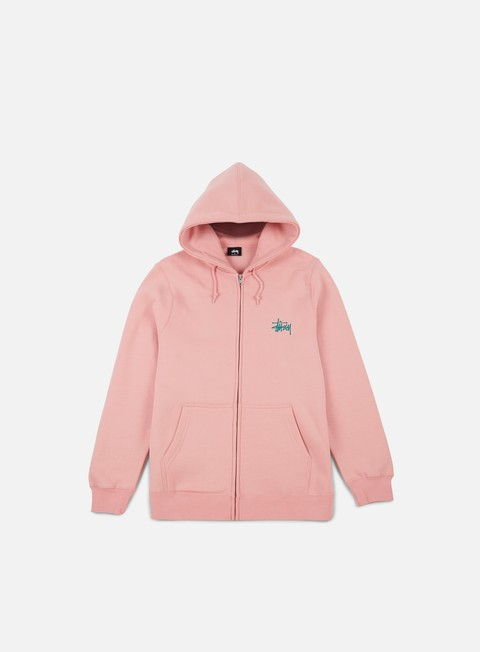 felpe stussy basic stussy zip hoodie dusty rose teal
