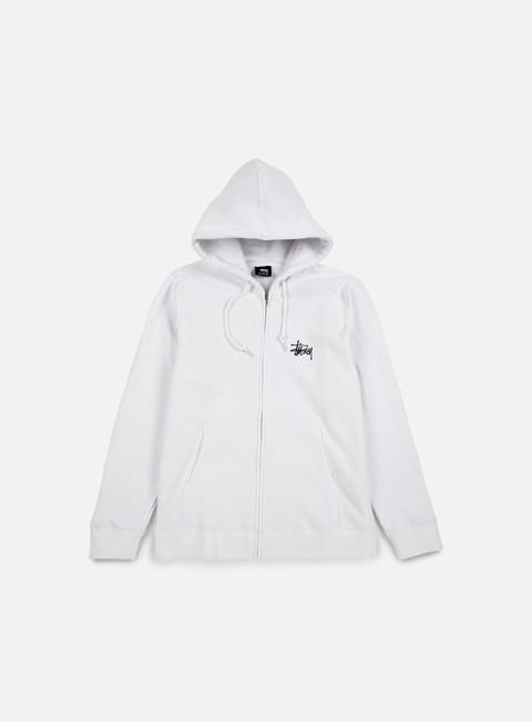 felpe stussy basic stussy zip hoodie white black