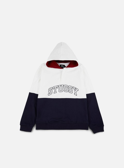 felpe stussy block hooded jersey navy white