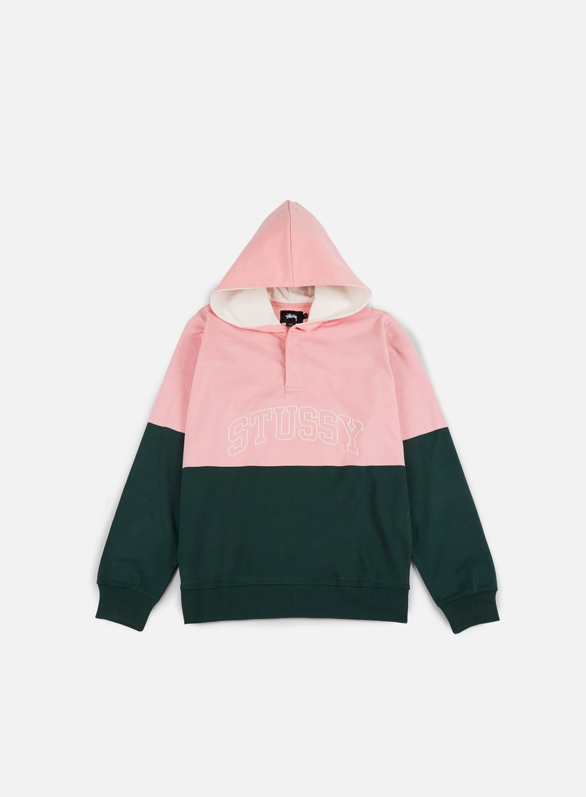 Stussy - Block Hooded Jersey, Pine/Pink