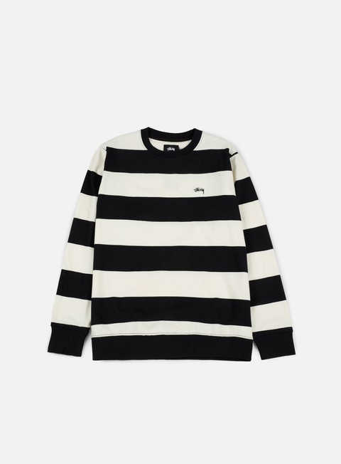 felpe stussy bold stripe jersey crewneck black white