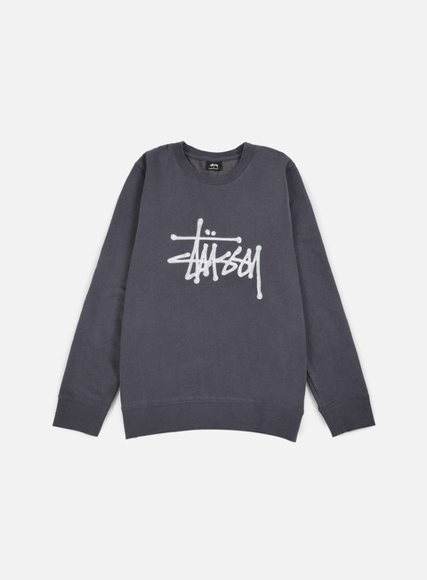 felpe stussy chain stitch applique crewneck midnight