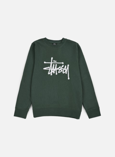 felpe stussy chain stitch applique crewneck pine