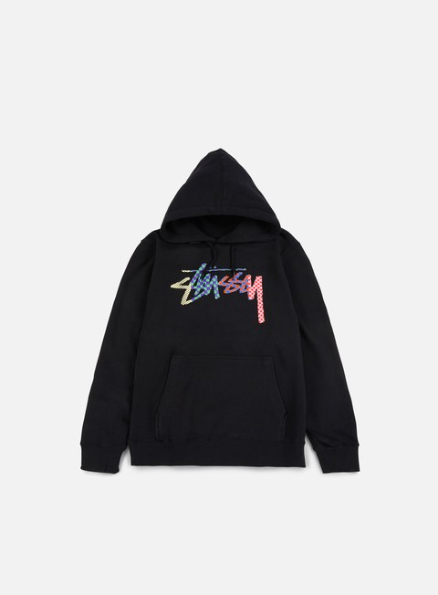 felpe stussy checker stock hoodie black