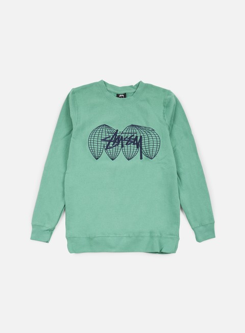 felpe stussy global crewneck green
