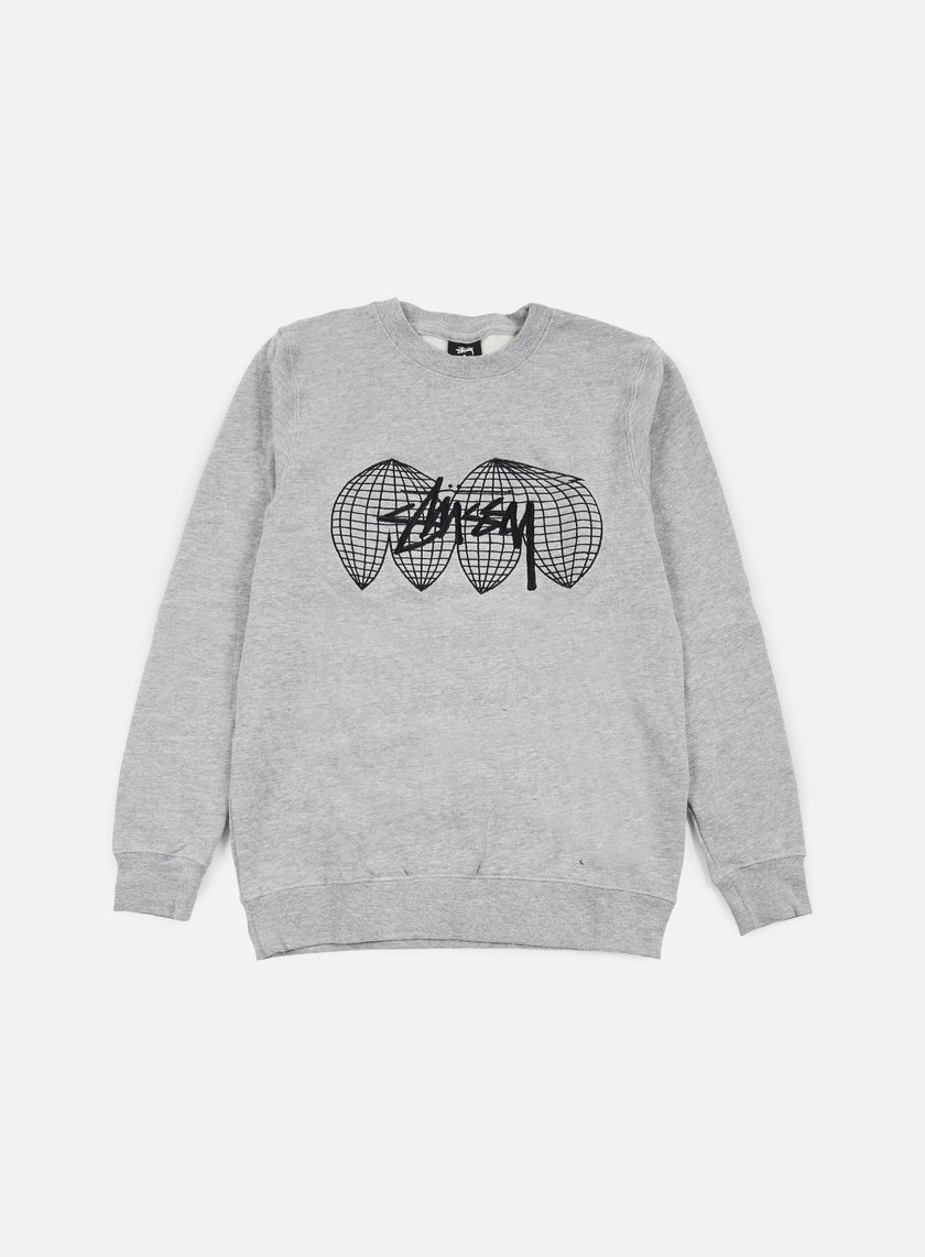 Stussy - Global Crewneck, Grey Heather