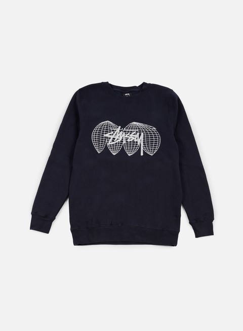 felpe stussy global crewneck navy