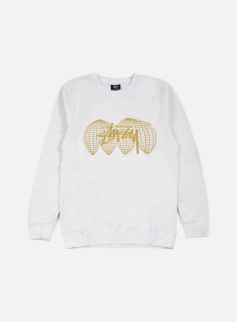 felpe stussy global crewneck white