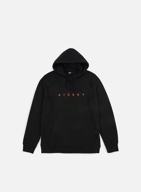 felpe stussy helvetica spread applique hoodie black