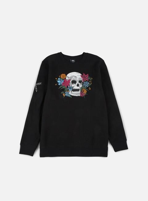 felpe stussy hippie skull crewneck black