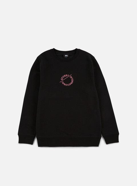 felpe stussy international circle applique crewneck black