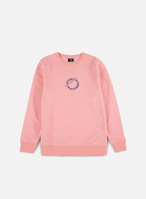 felpe stussy international circle applique crewneck dusty rose
