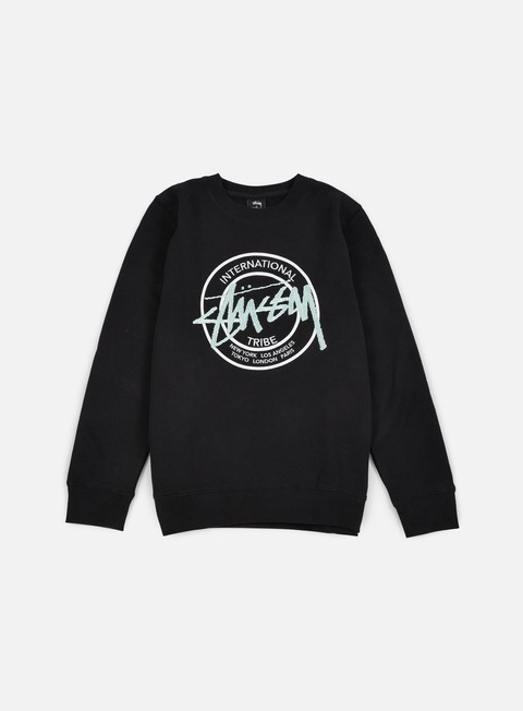 felpe stussy ist dot applique crewneck black