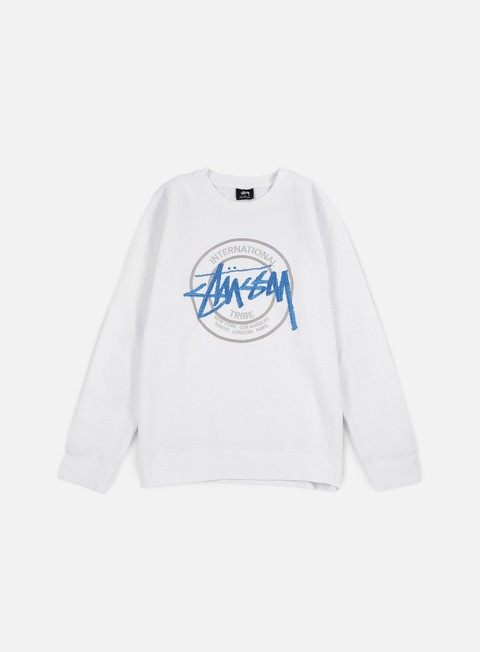 felpe stussy ist dot applique crewneck white