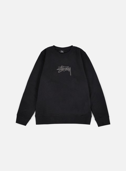 felpe stussy new stock applique crewneck black