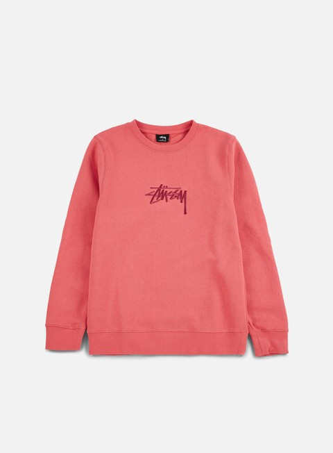 felpe stussy new stock applique crewneck dark pink
