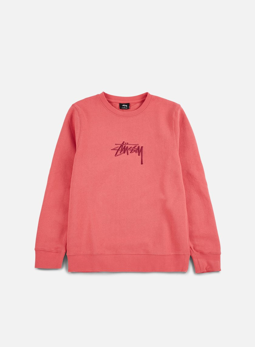 Stussy - New Stock Applique Crewneck, Dark Pink