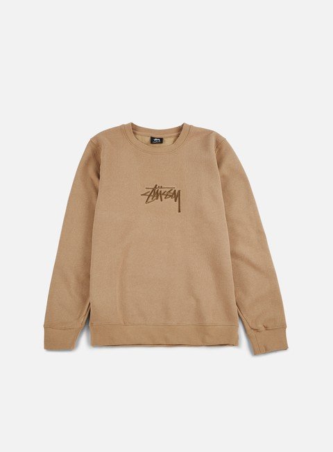felpe stussy new stock applique crewneck light brown