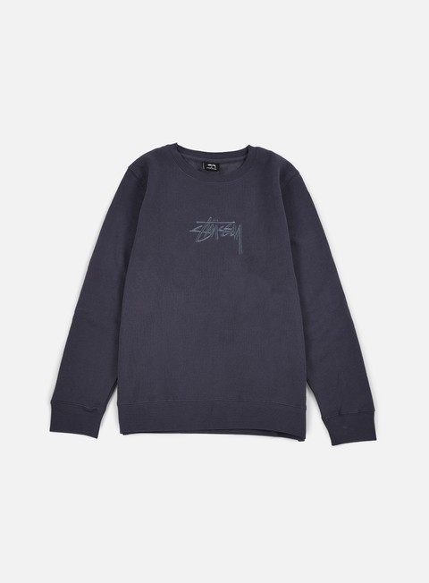 felpe stussy new stock applique crewneck midnight