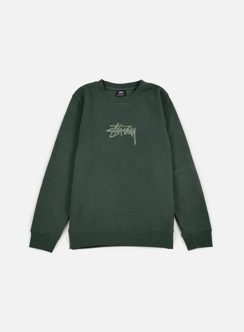 felpe stussy new stock applique crewneck pine