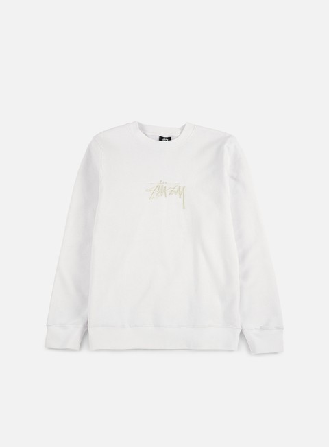 felpe stussy new stock applique crewneck white