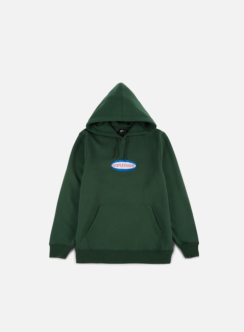 felpe stussy oval logo applique hoodie dark forest