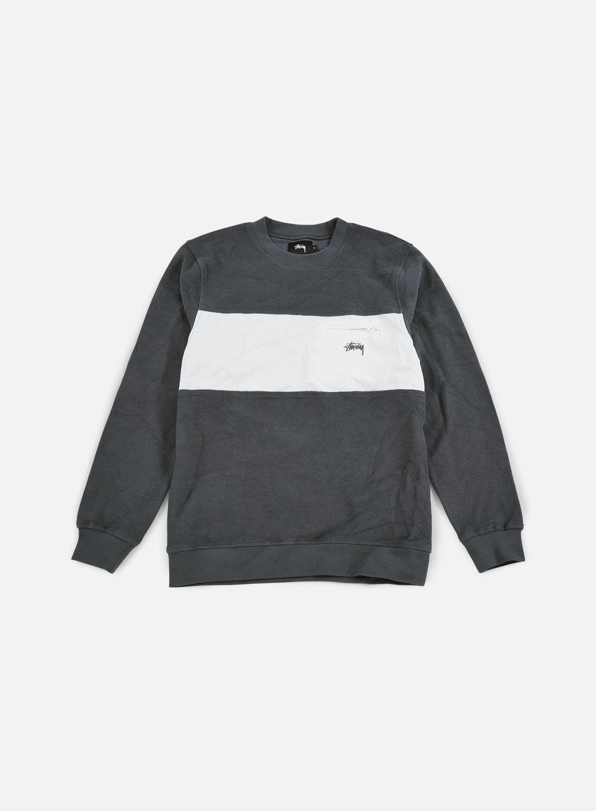 Stussy - Pocket Panel Crewneck, Charcoal