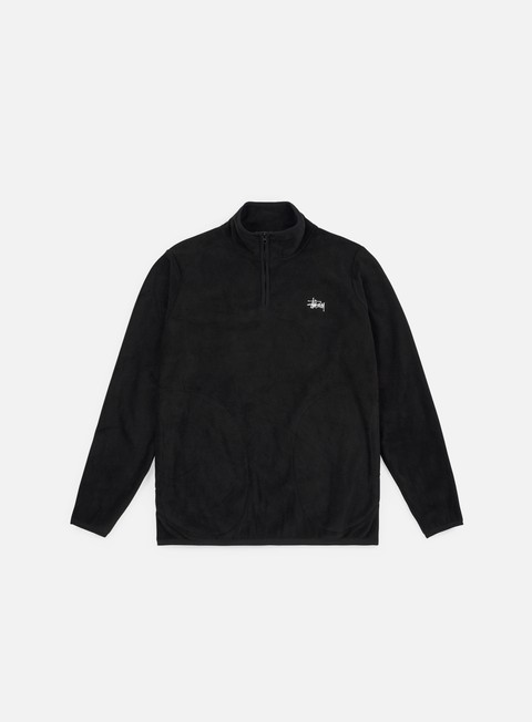 felpe stussy polar fleece half zip mock neck black