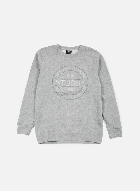 felpe stussy round stamp crewneck grey heather